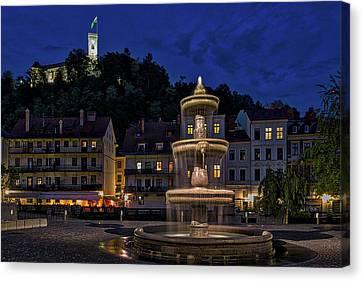 Canvas Print featuring the photograph Ljubljana Night Scene #3 - Slovenia by Stuart Litoff
