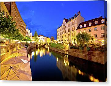 Ljubljanica River Waterfront In Ljubljana Evening View Canvas Print by Brch Photography