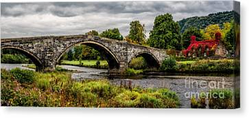 Hdr Landscape Canvas Print - Llanrwst Bridge Panorama by Adrian Evans
