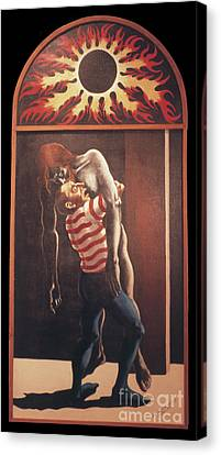 Canvas Print featuring the painting Llego' Con Tres Heridas by William Hart McNichols