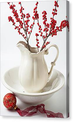 Llex Berries In Pitcher Canvas Print by Garry Gay