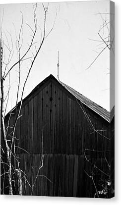 Canvas Print featuring the photograph lloyd-shanks-barn-1BW by Curtis J Neeley Jr