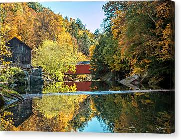 Mcconnell's Mill And Covered Bridge Canvas Print by Skip Tribby