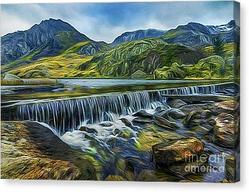 Mountain View Canvas Print - Llyn Ogwen Weir And Tryfan by Ian Mitchell