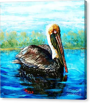 Canvas Print featuring the painting L'observateur by Dianne Parks
