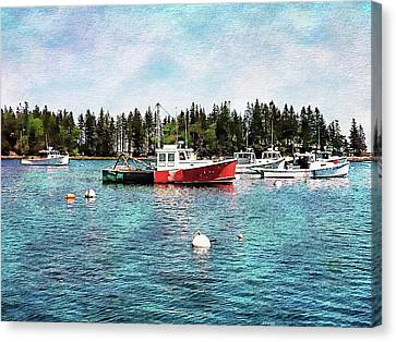Canvas Print featuring the digital art Lobster By Night - Sleep By Day - Camden Maine by Joseph Hendrix
