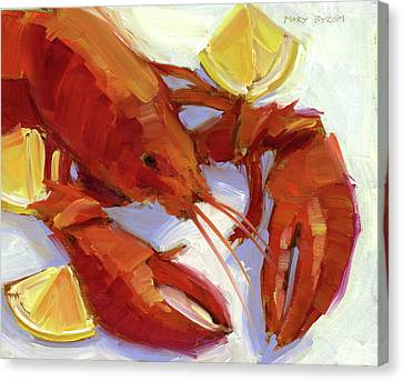 Lobster And Lemons Canvas Print by Mary Byrom