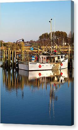Lobster Boat Reflections Canvas Print