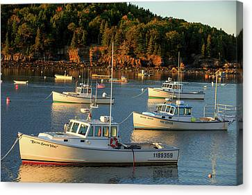 Canvas Print featuring the photograph Lobster Boats At Bar Harbor Me  by Emmanuel Panagiotakis