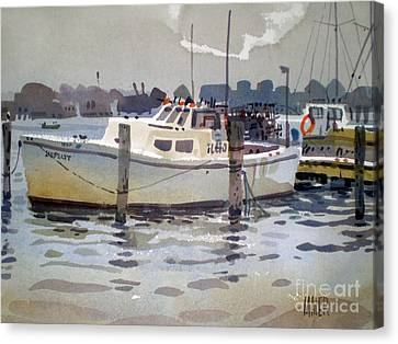 Lobster Boats In Shark River Canvas Print by Donald Maier