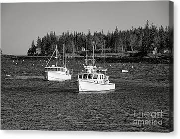 Lobster Boats On Maine Coastal Inlet Canvas Print by Olivier Le Queinec