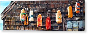 Lobster Buoys, Nova Scotia Canvas Print by Anna-maria Dickinson