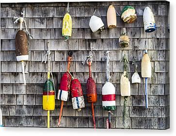 Lobster Buoys On Wall, York, Maine Canvas Print by Steven Ralser