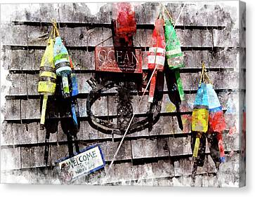 Lobster Buoys Wc Canvas Print by Peter J Sucy