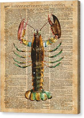 Collage Tapestries - Textiles Canvas Print - Lobster Crustacean Mediterranean Sealife Vintage Dictionary Art Collage by Jacob Kuch