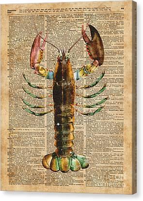 Lobster Crustacean Mediterranean Sealife Vintage Dictionary Art Collage Canvas Print