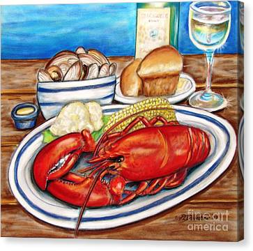 Canvas Print featuring the pastel Lobster Dinner by Patricia L Davidson