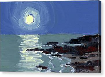 Lobster Point Moon Canvas Print by Mary Byrom
