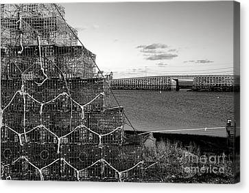 Lobster Traps And Cribstone Bridge Canvas Print by Olivier Le Queinec