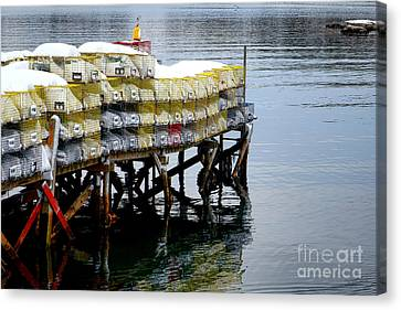 Lobster Traps In Winter Canvas Print by Olivier Le Queinec