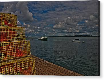 Canvas Print featuring the photograph Lobster Traps On The Dock by David Bishop