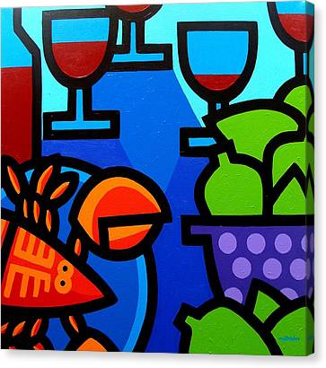 Lobster Wine And Limes Canvas Print by John  Nolan
