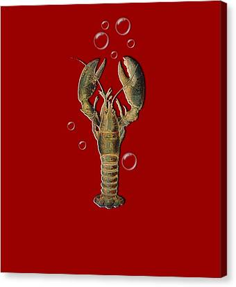 Canvas Print featuring the digital art Lobster With Bubbles T Shirt Design by Bellesouth Studio