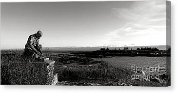 Lobsterman Statue On Bailey Island  Canvas Print by Olivier Le Queinec