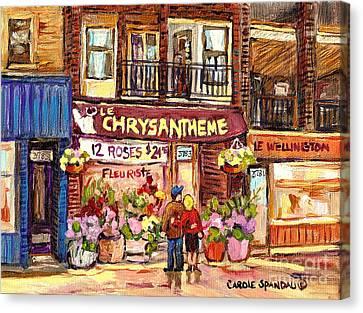 Local Flower Shop Le Chrysantheme Verdun Montreal Summer City Scene Canadian Art Carole Spandau      Canvas Print by Carole Spandau