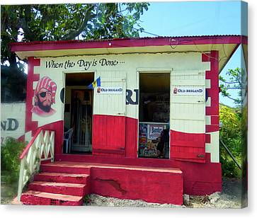 Canvas Print featuring the photograph Local Rum Shop, Barbados by Kurt Van Wagner