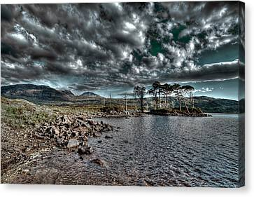 Loch In The Scottish Highland Canvas Print by Gabor Pozsgai