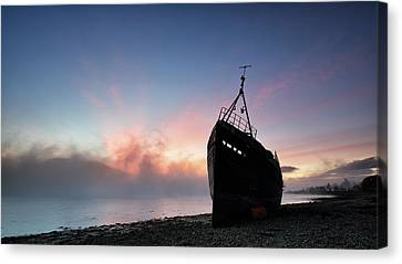 Canvas Print featuring the photograph Loch Linnhe Misty Shipwreck by Grant Glendinning