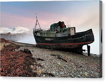 Canvas Print featuring the photograph Loch Linnhe Misty Boat Sunset by Grant Glendinning
