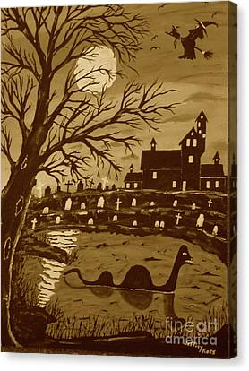 Loch Ness Monster On Halloween Canvas Print by Jeffrey Koss