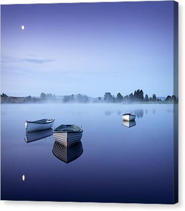 Loch Rusky Moonlit Morning Canvas Print by David Mould