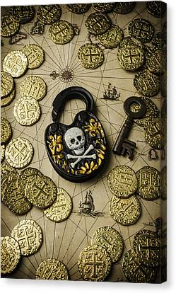 Lock And Gold Coins Canvas Print by Garry Gay