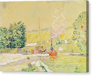 Lock At Sannois Canvas Print by Paul Signac