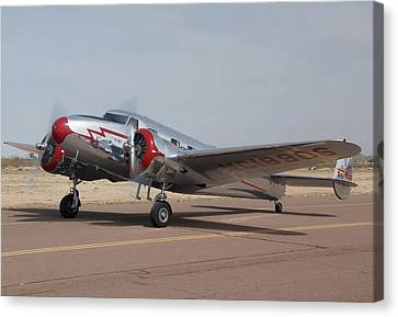 Lockheed 12a Electra Junior Nc18906casa Grande Airport Arizona March 5 2011 Canvas Print by Brian Lockett