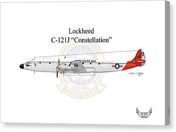 Canvas Print featuring the digital art Lockheed C-121j Constellation by Arthur Eggers
