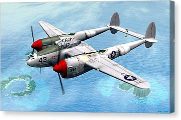 Lockheed P-38 Lightning Canvas Print by Walter Colvin
