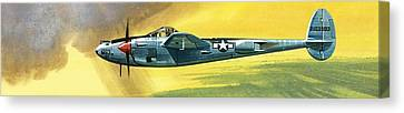 Lockheed Aircraft Canvas Print - Lockheed P-38j Lightning by Wilf Hardy