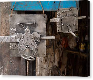 Moroccan Canvas Print - Locks As Advertisement For Artisan by Panoramic Images