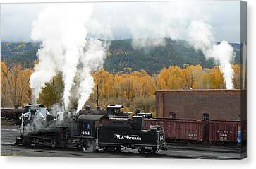 Canvas Print featuring the photograph Locomotive At Chama by Scott Rackers