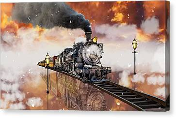 Street Lights Canvas Print - Locomotive Breath Railway by Marvin Blaine