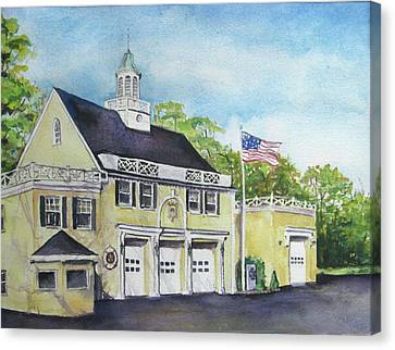 Canvas Print featuring the painting Locust Valley Firehouse by Susan Herbst