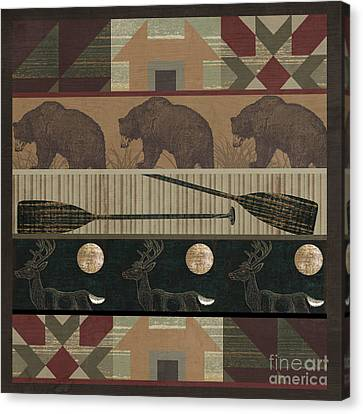 Lodge Cabin Quilt Canvas Print