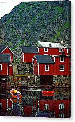 Lofoten Fishing Huts Oil Canvas Print by Steve Harrington