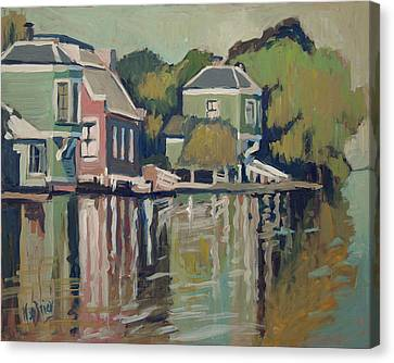 Lofts Along The River Zaan In Zaandam Canvas Print by Nop Briex