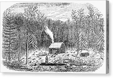 Log Cabins Canvas Print - Log Cabin, C1800 by Granger