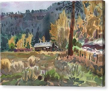 Log Cabin Canvas Print by Donald Maier